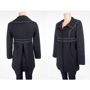 SMYTHE Wool Coat 2 XS Black White Contrast Stitch
